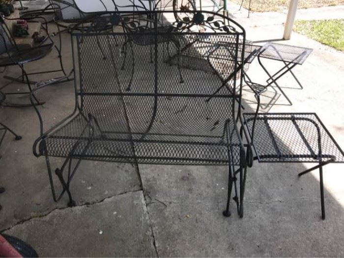 Wrought Iron Glider and Side Table