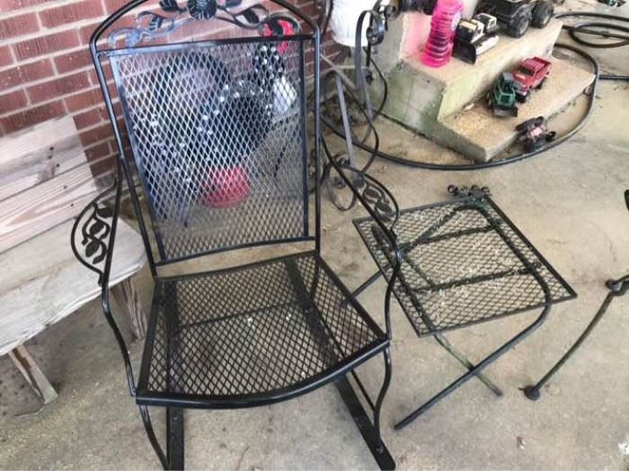 Wrought Iron Rocker and Side Table