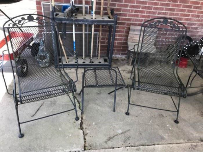 Wrought Iron Chairs & Side Table