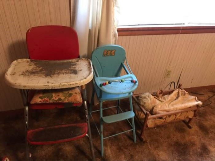 Vintage High Chairs and Doll Bed