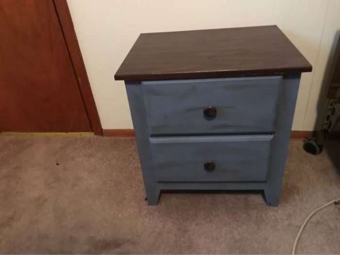 Blue Distressed Nightstand
