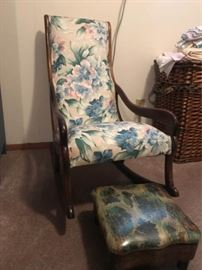 Vintage Wood Rocker and Footstool