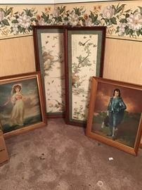 Assortment of Wood Frames and Pictures
