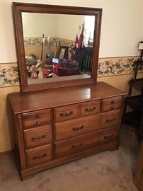Wood Dresser and Mirror