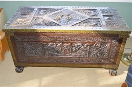 Beautiful Carved Chest circa 1901