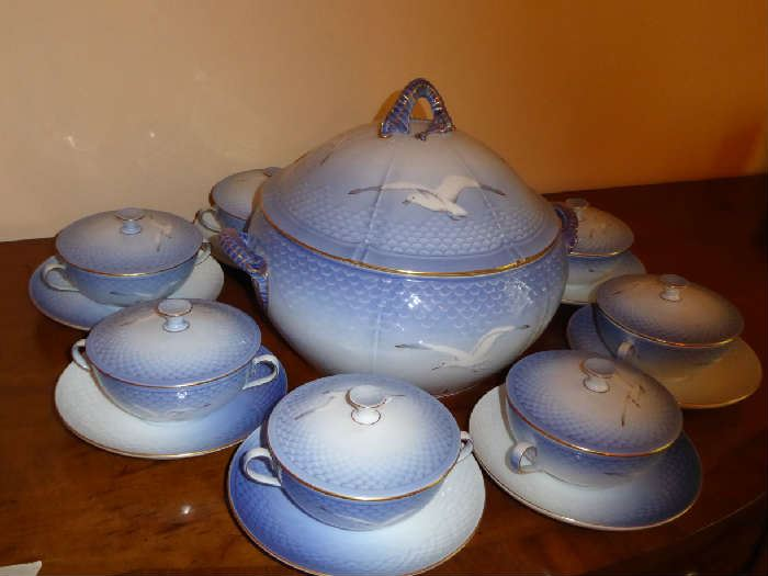 Bing & Grondahl Soup Tureen and Covered Soup Bowls
