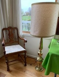 Antique Chair - Pair of Brass Lamps