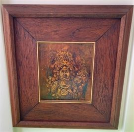 Artist: Thumnu - gold leaf painting, framed in teak