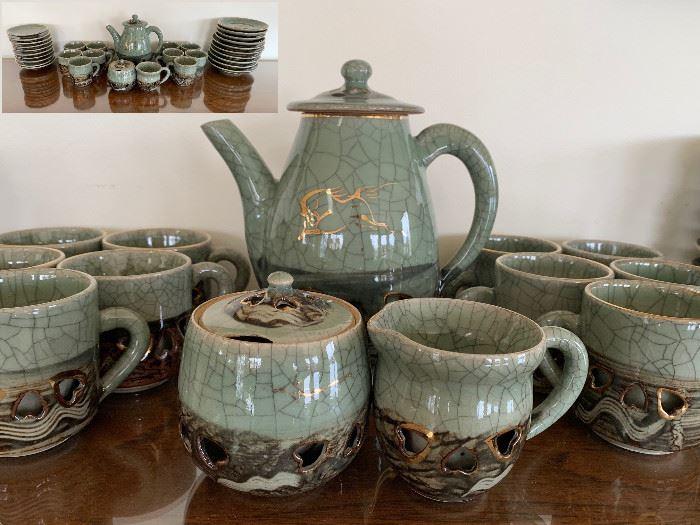 Mid 20th Thai Celadon Tea Set