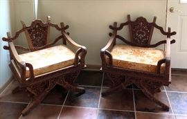 Hand Carved Elephant Saddle Chairs