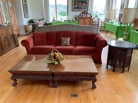Red Sofa with Thai Tables