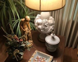 Capodimonte ashtray and lamp.  chalkware statue and 1 of 2 Capodimonte Lamp