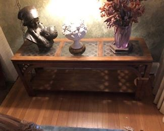 1950's Lattice top console table.  Has matching end tables