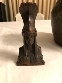 Bronze Artdeco bust with peacock headdress