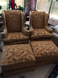 Cut Velvet Wingback and ottoman Pair