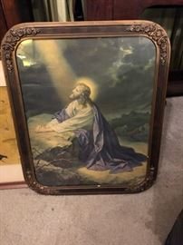 1930's Christ lithograph with gesso frame