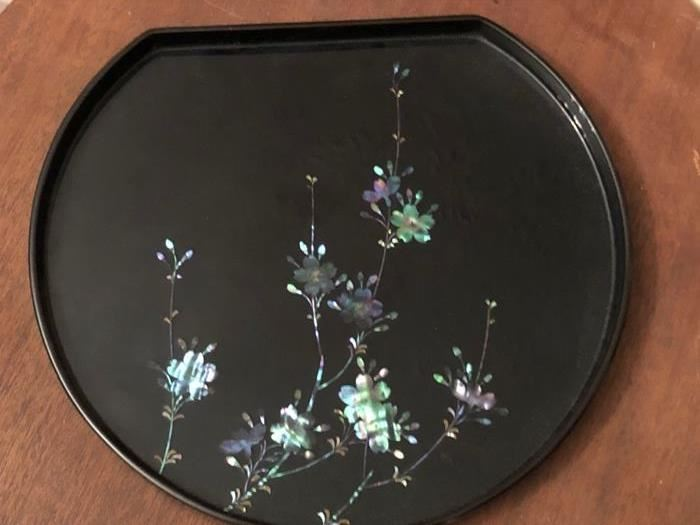 inlayed mother of pearl serving plate.  Never used