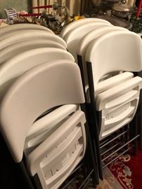 lifetime plastic folding chairs.  12 total of these chairs