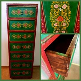 hand painted 7 drawer chest