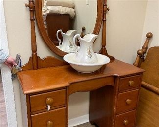 Antique vanity.  Wash bowl & pitcher.