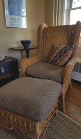 Ralph Lauren wicker chair and ottoman -- original Ralph Lauren herringbone cushions!