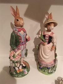 """Fitz and floyd rare 12"""" bunnies"""