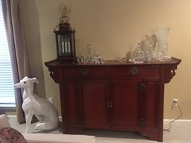 """Asian Buffet, with """"lantern"""" lamp Greyhound and many crystal pieces"""