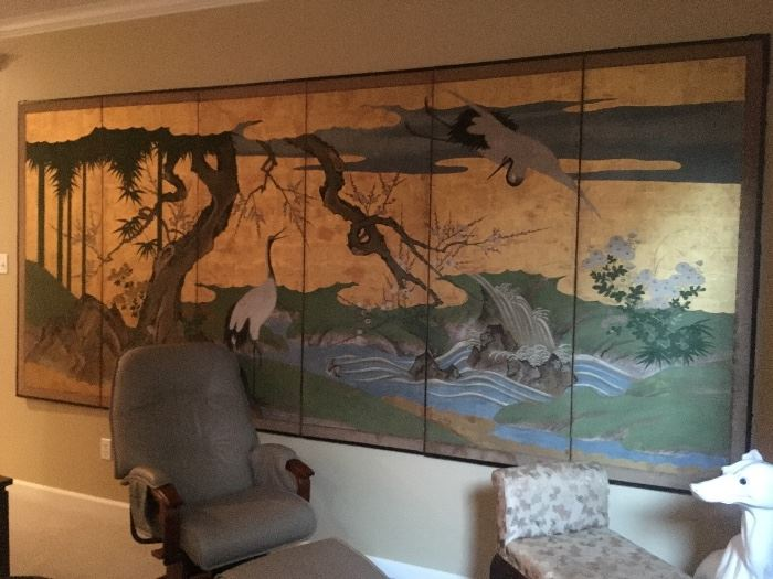 Fabulous 6 panel hand painted screen