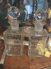 Pair of Liquer decanters or large perfumes etched and beautiful