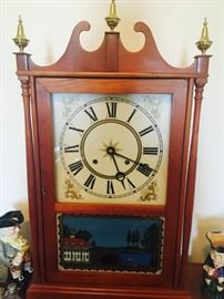 Custom built Eli Terry Pillar and Scroll Repro. All Case measurements taken from an original Eli Terry Pillar and Scroll Clock. Glass is reverse painted like the originals.