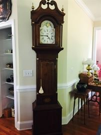 Bryans Clock Company Repro, collector Elmer Bryans commissioned a limited number of custom built tall case clocks based on his own design featuring favorite elements from both English and American Tall Clocks