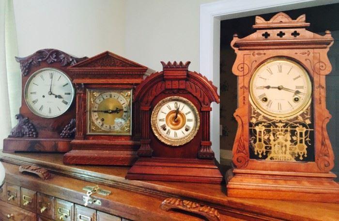 "Houghton Carved Mantle Clock, English Oak Pediment Gable Mantel Clock, Antique 1882 Ansonia ""Tunis"", excellent original condition, 8-day movement, Seth Tomas Gingerbread Mantle Clock"
