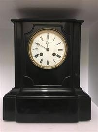 19C Samual Marti French Black Marble Mantle Clock