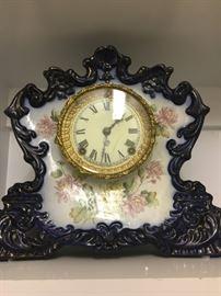 Ansonia No. 422 Cobalt Blue and Gilt Porcelain Mantle Clock