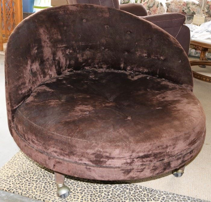 Midcentury suede lounge chair