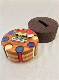 Vintage Mahogany Poker Chip Set.