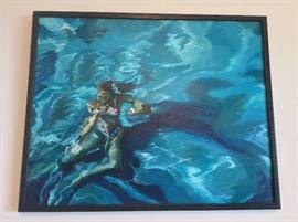 """Beautiful Swimmer"" by Jean Evans Thomas, 31"" x 25""."