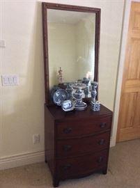 "Large Mirror, 27"" x 43"". 3-Drawer Dresser, 32' H x 26"" W x 18"" D."