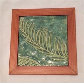"Jean Thomas Leaf Tile, 7"" x 7 1/2""."