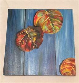 "Sea Grape Leaves, 12"" x 12""."