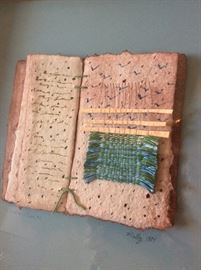 """The Decorative Book #1"", Barbara Melby-Burhans, Handmade Paper, Watercolor, and Hand Dyed Cotton Yarn."