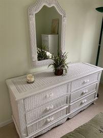 white wicker bedroom set dresser