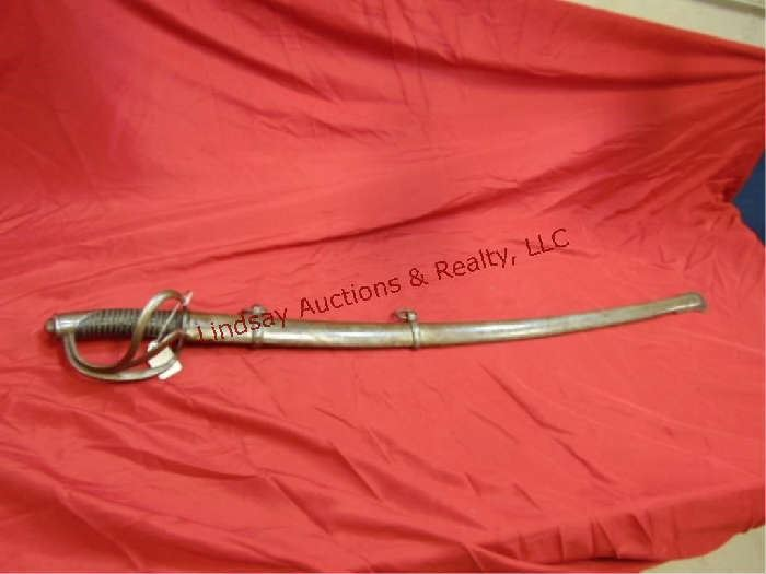 """389 - 35.5"""" sword w/ scabbard no markings (Jerry's tag reads Probably a Tiffany Import stressed cracked blade - strange)"""