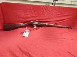 390 - J.H. Hall model 18 Type II - Schmidt Breech Loadmarked US 1839 Harpoer's Ferry .64 cal Marked JJ on left side stock, sling ring, has off set sites (missing ram rod) good metal patina stock has normal knicks & scratches