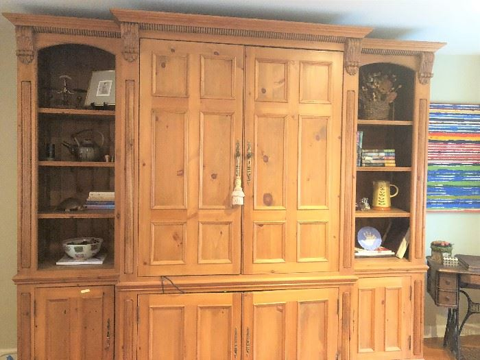 PINE ARMOIRE, 3 SECTIONS, CURRENTLY HOLDS A LARGE TV