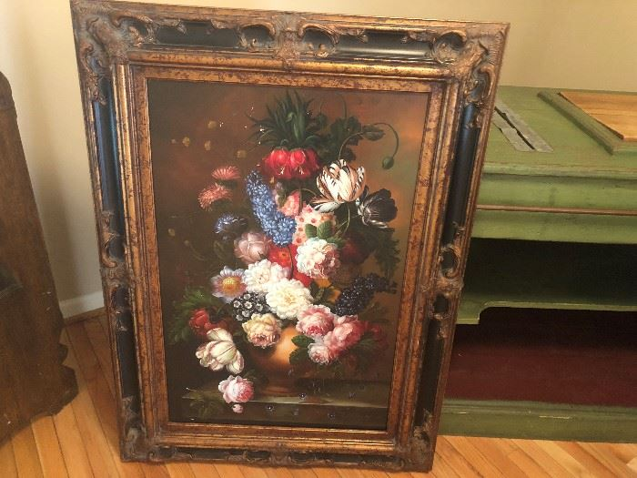 LARGE FLORAL PAINTING IN ORNATE GOLD AND BLACK FRAME