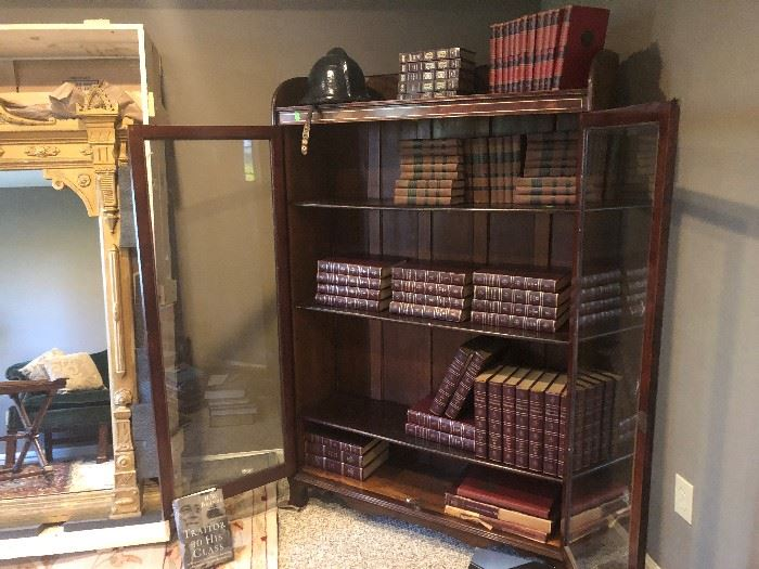 EAST LAKE MIRROR, BOOK CASE WITH INLAID DETAILS, GORGEOUS LEATHER BOOKS AND ANTIQUE BRITANICA ENCYCLOPEDIA LEATHER BOUND