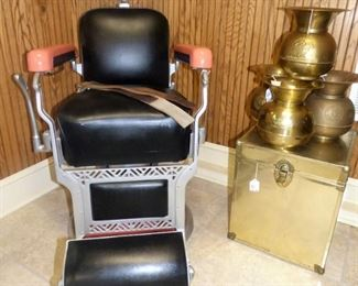 Vintage Koken Barber Chair with razor strops, Brass Spitoons
