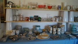 glassware, dishes, tea kettle, flaware, Pyrex,