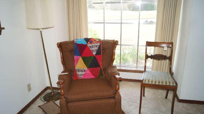 rocker, lap quilt, lamp, chair